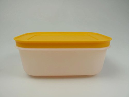 TUPPERWARE Recipiente para congelador, 450 ml, color blanco y naranja, cristal de...