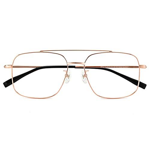 HAOXUAN Gafas de Lectura multifocales progresivas HD Anti-Blue Light Lector de computadora Ultraligero Montura de Gafas de Titanio Puro Unisex,Oro,+3.00