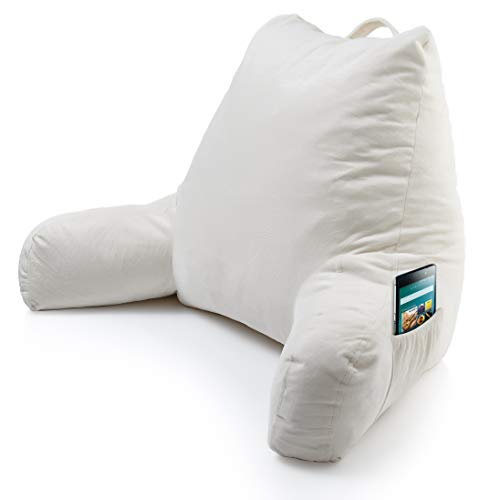 Keen Edge Home Reading Pillow with Arms and Pocket - Shredded Memory Foam - Read and Watch TV in...