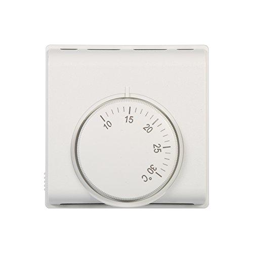 Yosoo 220V 10-30 ° C Regulador de Temperatura mecánico Interruptor de termostato 6A Regulador de Temperatura Ajustable del termostato, Blanco