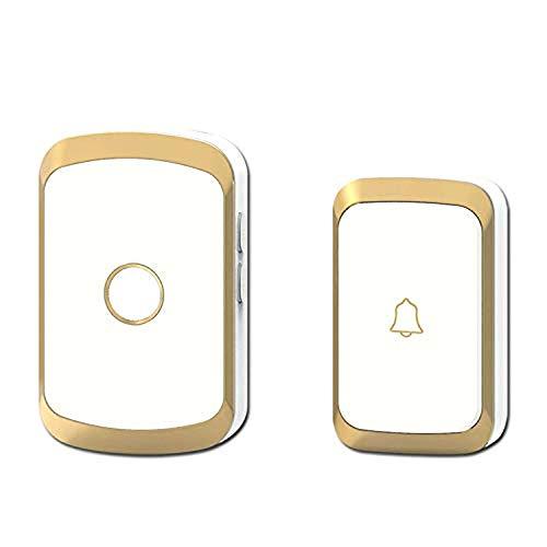 DDELLK Draadloze deurbel, AC 100-240V waterdichte deurbel, draadloze thuisbeveiliging, 300 m reikwijdte bel draadloos voor woningen en tuin EU plug goud