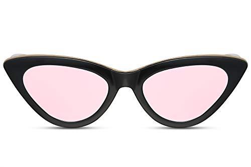 Cheapass Occhiali da Sole Esclusivi con Design a Gatto con una Montatura Piccola Nera e Oro e Lenti Specchiate Rosa UV400 da Donna