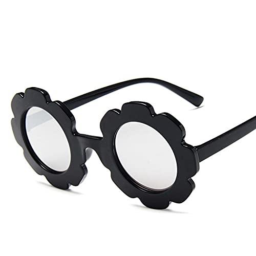 AMFG Gafas de sol para niños Gafas de sol Lindo bebé Cómodo Coloridas Gafas de sol Redondo Marco Redondo Vidrios Pétalos Verano Decoración de protector solar al aire libre (Color : F)
