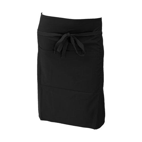 Dennys Damen Polycotton Taillenschürze mit Tasche (Einheitsgröße) (Schwarz)