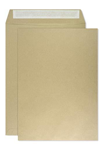 250 braune DIN B4 Versandtaschen 250×353 mm gerade Klappe Haftklebung ohne Fenster 100g Briefumschläge in Großbrief Format B4 braun Briefkuverts B4 große Geschäfts-Umschläge für Briefe Rechnungen