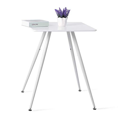 buybyroom Esstisch Klein Modern Esszimmertisch MDF Holz Quadrat Küchentisch mit Weiße Eisenbeine, 60 x 60 x 75 cm - Weiß