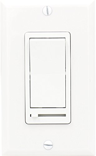 Baomain Preset Slide Dimmer Single-Pole/3-Way 120V 600W ON/OFF Rocker Switch for Incandescent/Dimmable CFL/Dimmable LED with wall plate White Color
