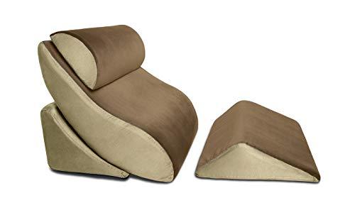 Avana Kind Bed Orthopedic Support Wedge Pillow Comfort System, 4-Piece-Set, Mocha/Sage
