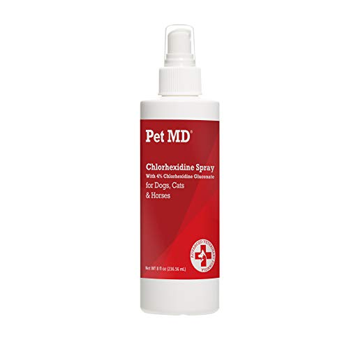 Pet MD 4% Chlorhexidine Spray - Antibacterial Hot Spot Spray for Dogs, Cats and Horses - Great for Insect Bites, Abrasions and Irritated Itchy Skin - 8 oz
