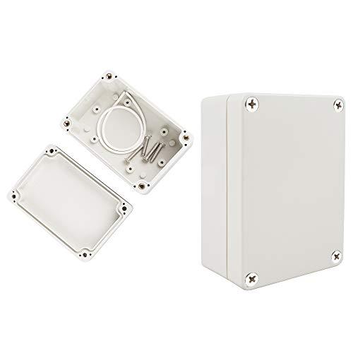 2 Stück ABS Plastik Elektronische Gehäuse Box Anschlussdose Wasserdicht Installationsgehäuse Leergehäuse IP65 Industriegehäuse Grau (100x68x50mm)