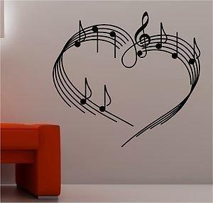 Online Design Música Notas como un Corazón Pared Pegatina Vinilo Música Musical Love - Negro