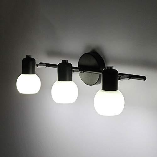 Lámpara American Mirror Faros Retro Ajustable 3 Head Lámpara de pared de hierro forjado Dormitorio Sala de estar 2 Head Lámpara de pared de vidrio. 1 (Diseño: 1)