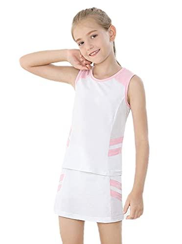 Conjunto de camiseta sin mangas y falda de tenis con pantalones cortos integrados, conjunto de 2 piezas para golf, vestido, blanco 01, 8 Años