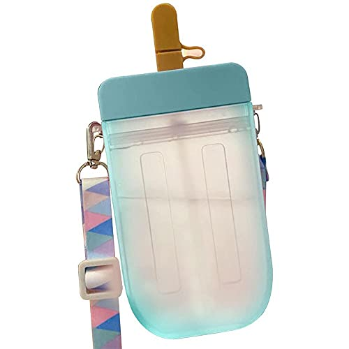 Botella de 300 ml para niños, botella de agua deportiva a prueba de fugas con correa para el hombro, botella de bebidas deportivas para la escuela, universidad, botella de agua de fútbol