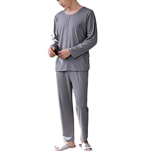 LLSS Pijamas para Hombre Primavera y otoño Manga Larga Algodón Puro Sección Delgada Camisón Suelto Juvenil Más tamaño Grande Servicio a Domicilio Traje de camisón