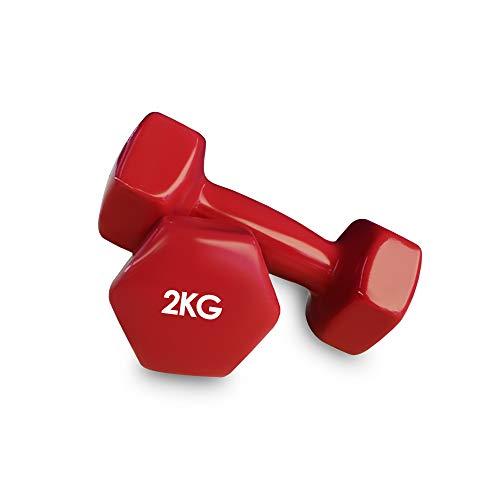 Focus Sport 2er Set Vinyl Hanteln Paar Kurzhanteln ideal für Gymnastik Aerobic Pilates Hantelset Gewichte 2kg Rot