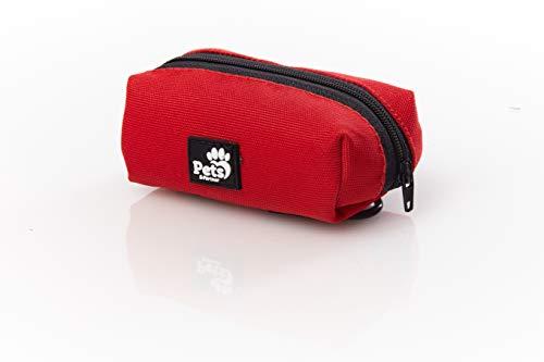 Pets&Partner® Kotbeutelspender aus Nylon, Aufbewahrungstasche einfach an Leine oder Schlüsselanhänger befestigen, Farben passend zur Hundeleine, Rot