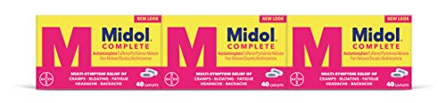 Midol Complete Menstrual Pain Relief Caplets with Acetaminophen for Menstrual Symptom Relief - 40 Count (Pack of 3)