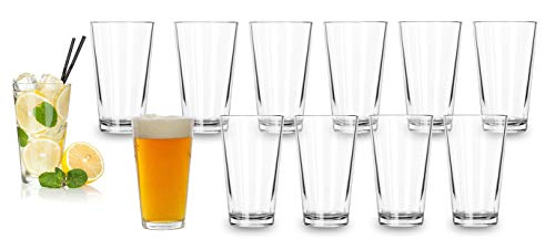Bulk Classic Premium Beer Pint Glasses 16 Ounce – Set Of 12 Highball Cocktail Mixing Glass – Perfect for Cold Beverages, Soda, Water - Used in Bar, Restaurant, Pub