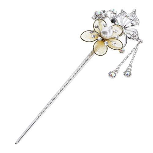 Baoblaze Vintage Haar Sticks, Damen Haar Stäbchen Kristall Blume Haarnadel Haarstock Haarclip Haargabel für Haar - Gelb
