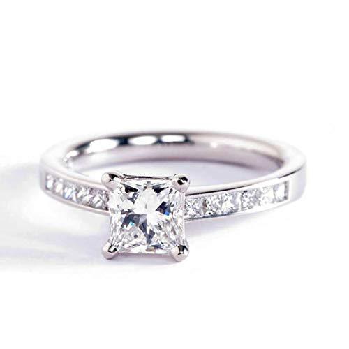 Anillo de compromiso de platino con diamante de corte princesa SI2 F de 0,8 quilates