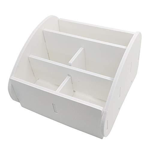 SourceTon - Organizador de mando a distancia con 5 compartimentos, color blanco PVC para TV, organizador de escritorio con 5 compartimentos espaciosos