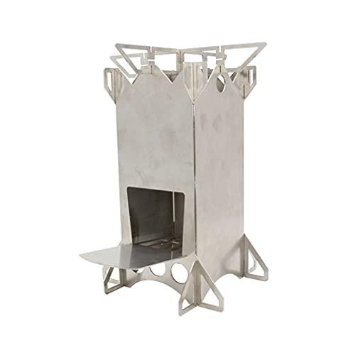 Nsdsb Estufa De Leña Plegable Portátil De Acero Inoxidable Cohete Ardiente Plegable Stovesilver