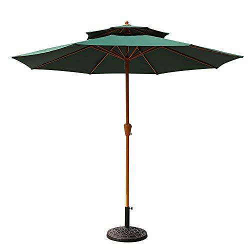 Grandes sombrillas frescas para exteriores, sombrillas comerciales redondas portátiles a prueba de lluvia, sombrillas para villas con jardín, etc. / Verde / 270×268cm