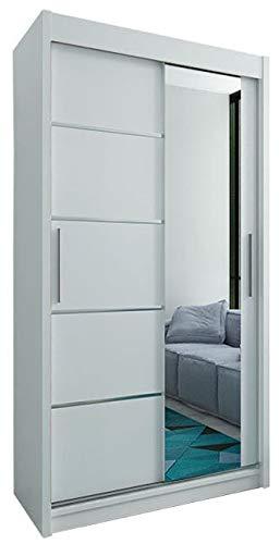 Kryspol Schwebetürenschrank Verona 2-100 cm mit Spiegel Kleiderschrank mit Kleiderstange und Einlegeboden Schlafzimmer- Wohnzimmerschrank Schiebetüren Modern Design (Weiß)