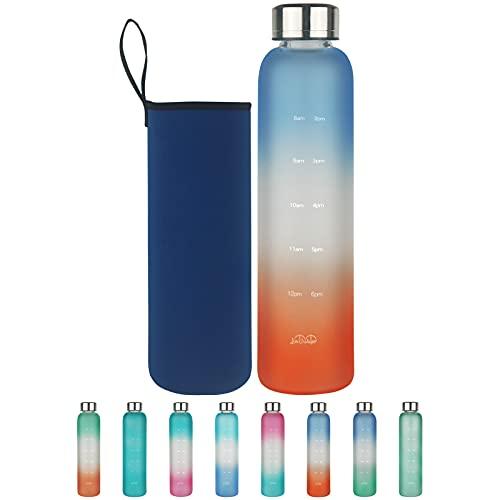 Botella de Agua de Cristal con Marcador de Tiempo, 500 ml/1 L Botella de Agua de Vidrio de Borosilicato sin BPA con Tapa a Prueba de Fugas y Funda de Neopreno, Perfecta para Oficina, Fitness, Viajes