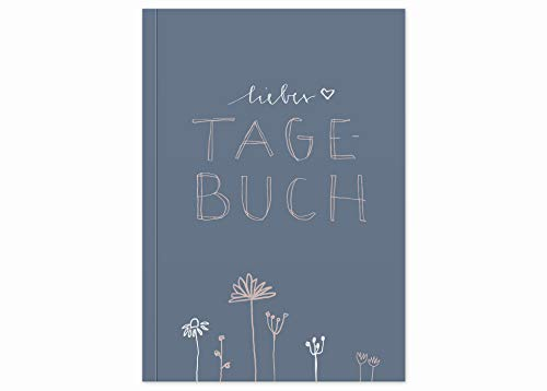 Liebes Tagebuch, Notizbuch und Tagebuch für Erwachsene, Mädchen und Jungen, liniert, 92 Seiten, 120 g Recyclingpapier weiß, A5 Softcover mit Linien, Blau Rosa mit Blumen