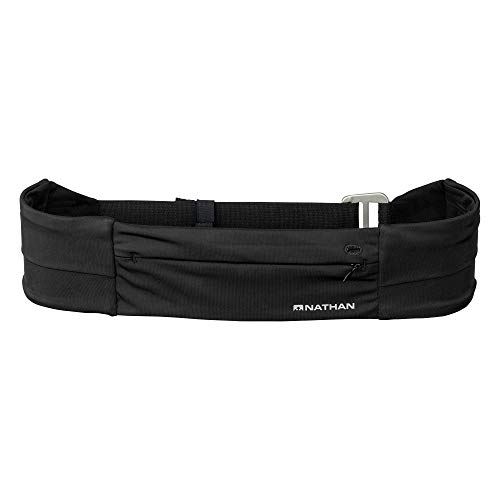 Nathan Zipster Fit Running Belt. Adjustable, Bounce Free Waist Pack. Pockets with Zippers. Runners Fanny Pack. Fits All iPhones, Android, Samsung etc. One-Size-Fits-All. for Men and Women