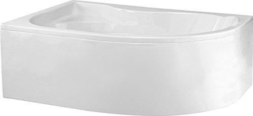 Aqualuxbad Badewanne | Wannen 170 x 110 cm Links inkl. Wannenfuß und Ablaufgarnitur Viega Automat, Schürze:mit Schürze