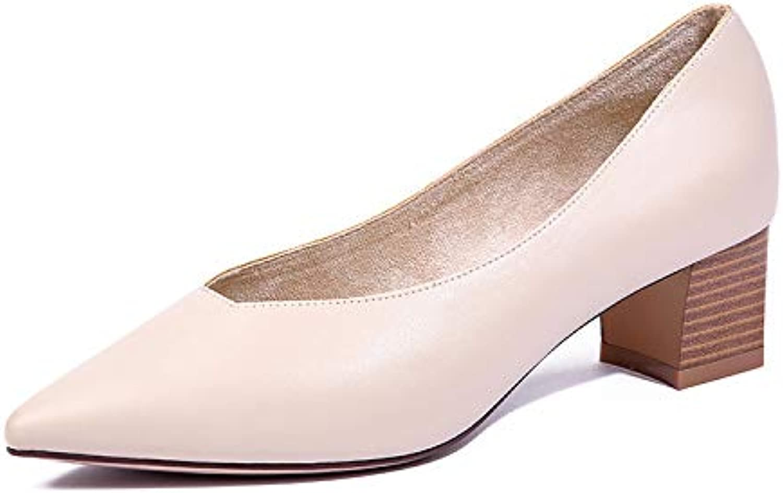 HOESCZS Retro Spitz Dick Mit Frauen Schuhe Pendler Stil Flachen Mund Einfache Mode Hoch Mit Damen Einzelne Schuhe Mode