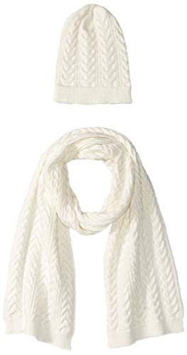 Amazon Essentials Women's Cable Knit Hat and Scarf Set, Ivory, One Size