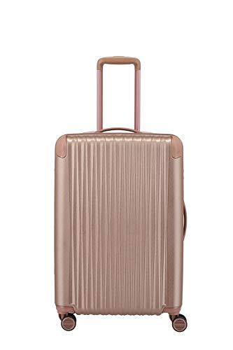 TITAN 4-Rad Koffer Hartschale mit TSA Schloss + Dehnfalte, Gepäck Serie BARBARA GLINT: Exklusiver Hartschalen Trolley im modischen Design, 845405-15, 67 cm, 68 Liter (erw. auf 78 Liter), rosé metallic