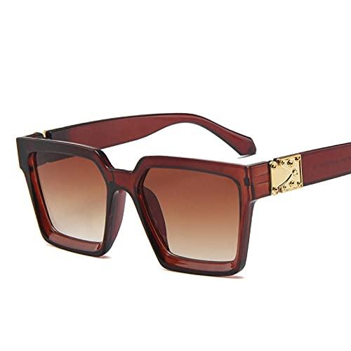 WQZYY&ASDCD Gafas de Sol Gafas De Sol Cuadradas para Mujer, Hombre, Al Aire Libre, Retro, para Mujer, Gafas De Sol Cool Retro, Tea_Colors