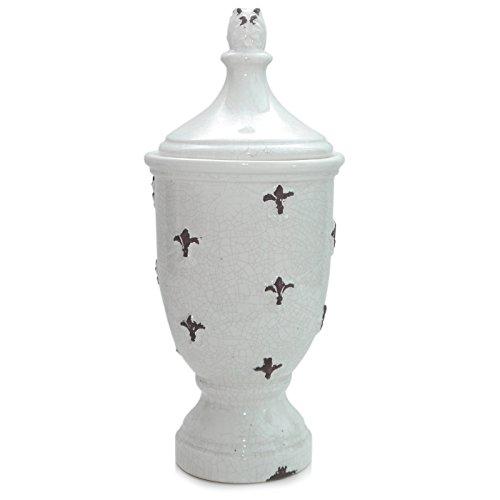 Werner Voss Deckelvase FRANZÖSISCHE Lilie   Vase craquelierte Keramik   beige crème braun   Dekovase