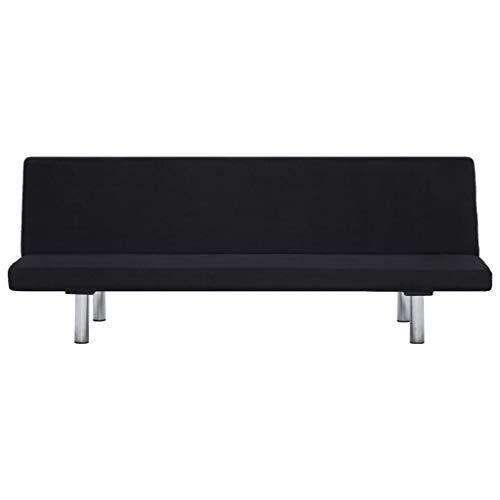 Lechnical Sofá Cama Revestido de poliéster Negro, práctico sofá Cama Familiar de Estilo Moderno 168 x 76 x 66 cm (Largo x Ancho x Alto) -3 ángulos Ajustables
