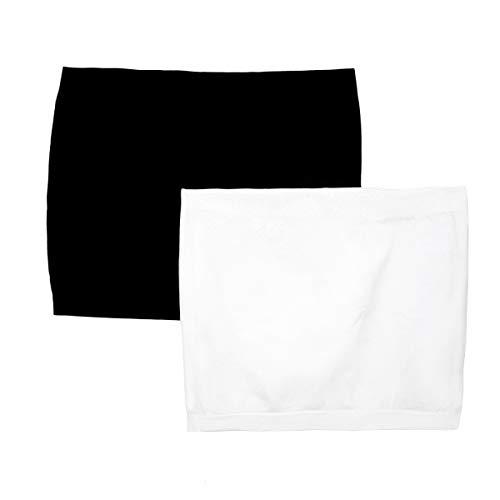 CreatPret Women's Maternity Seamless Belly Band Women's Shirt Layering Extension (Black+White, M)