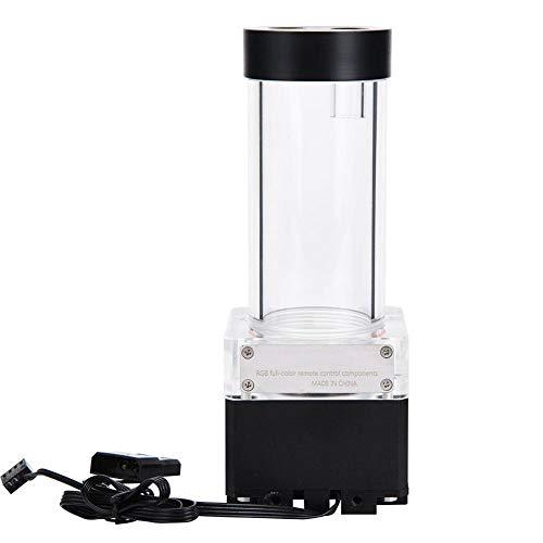 Lazmin 800L/H Computer CPU Wasserkühlung Wasserpumpe, 4 Meter Pumpenkopf Schnelle Wärmeableitung Computer Wasserpumpe LED Ultra-leiser Wasserpumpentank für PC(Schwarz & 17cm)