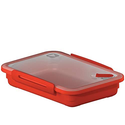 Rotho Memory Mikrowellendose 0.9l mit Deckel und Ventil, Kunststoff, rot, 0.9 Liter