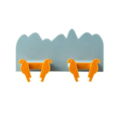 Vogel zelfklevende haak voor wandbehang kinderkamer wandhaken kindergarderobe zonder boren cadeau-idee met 4 haken 12 * 7 cm lichtblauw