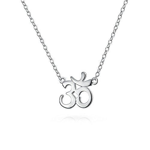 Aum Om Ohm Sanskrit Zeichen Yoga Spirituelle Harmonie Anhänger Station Halskette Für Damen 925 Sterling Silber 16 Zoll
