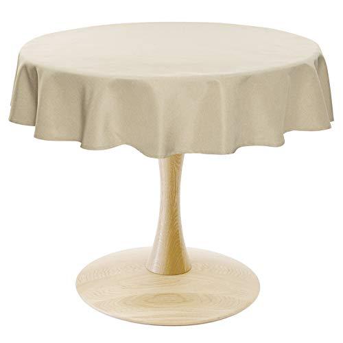 WOLTU TD3052sd Tischdecke Tischtuch Leinendecke Leinen Optik Lotuseffekt Fleckschutz pflegeleicht abwaschbar schmutzabweisend Farbe & Größe wählbar Rund 160 cm Sand