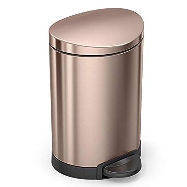 simplehuman Rose Gold Steel, 6L / 1.59 Gal Semi‐Round Step Trash can