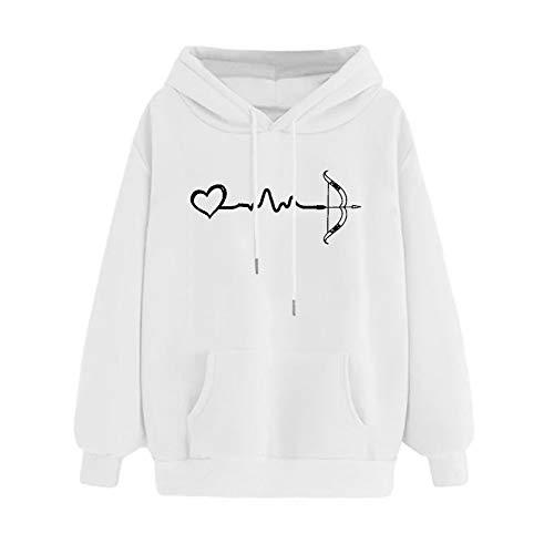 Sweat à Capuche Femme, Sweatshirt Hoodies Pull en Coton à Manches Grande Taille Veste de Sport avec Poches Longues Tops Blouse Shirt Streetwear Sport Pull Tops Outwear