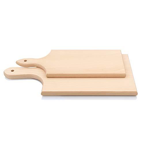 PRIMOLEGNO 2x Taglieri Indispensabili con manici | Legno di Faggio Massello Stagionato | Primo Tagliere Dimensioni 40x20 cm | Secondo Tagliere 34x15 cm |