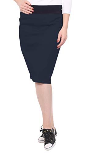 Kosher Casual Women's Modest Knee Length Lightweight Cotton Stretch Twill Pencil Skirt with Stretch Waist Dark Navy