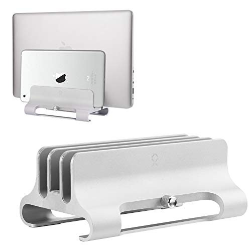 BECROWMEU Verticale laptopstandaard, dubbele bureaustandaard met verstelbare dock (tot 17,3 inch), past op alle MacBook/Surface/Samsung/HP/Dell/Chrome-boek, Triple - Silver